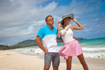 modern couple on summer holidays