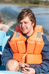 Portrait of a man in  life jacket