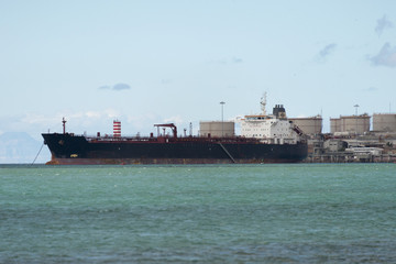 Tanker ship in the harbor sea