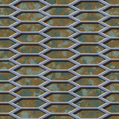 Abstract camouflage grunge background with metal grid