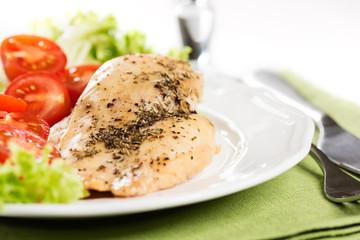 Chicken meet on plate close up