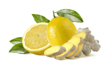 Lemon and ginger pieces isolated on white background