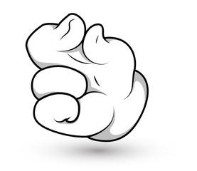 Cartoon Hand - Finger Pinch Vector Illustration