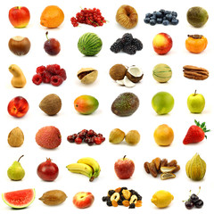 fresh and colorful fruits and nuts isolated on white