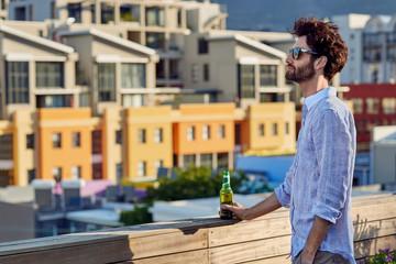 Young man looking at view