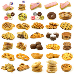 collection of freshly baked cake,waffles and buns