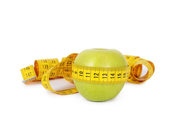 Measuring tape with apple isolated