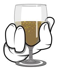Cartoon Hand - Holding Wine Glass - Vector Illustration