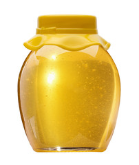 jar with golden honey isolated on the white background