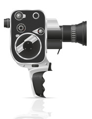 old retro vintage movie video camera vector illustration