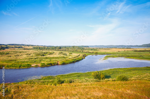 canvas print picture Sorot river, empty rural Russian landscape