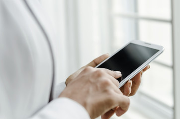 Woman making communication with smart phone