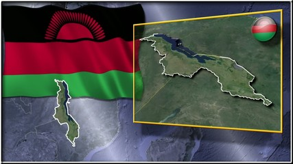 Malawi flag and map animation