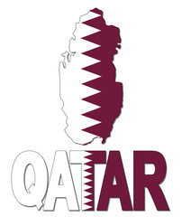 Qatar map flag and text illustration