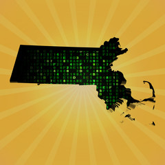 Massachusetts sunburst map hex code illustration