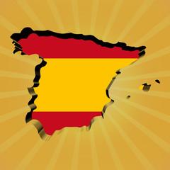 Spain sunburst map with flag illustration