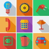 Collection modern flat icons Home Appliances with long shadow ef poster