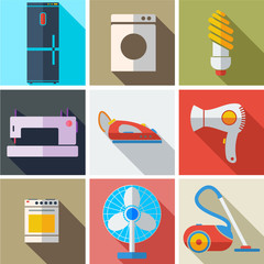 Collection modern flat icons household appliances with long shad