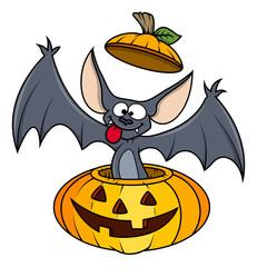 Cute Funny Bat in Pumpkin - Halloween Vector Illustration