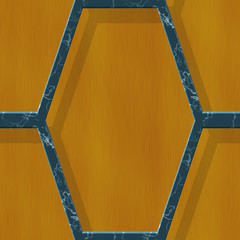Blue hexagonal metal frame on wooden background