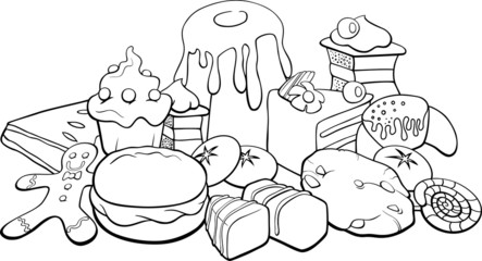 sweets for coloring book