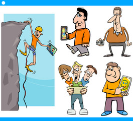 people and technology cartoon set