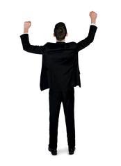 Business man winner hands up