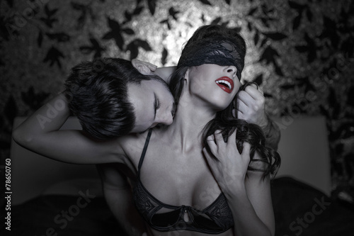 Hot passionate lovers at night - 78650760