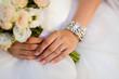 Beautiful wedding bouquet, french manicure