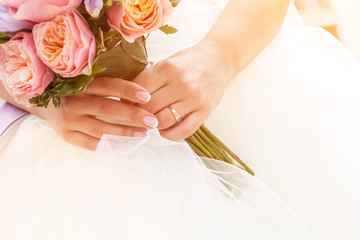 Beautiful wedding bouquet, french manicure