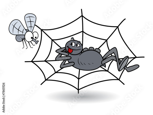 Spider Waiting on Web for Bee - Halloween Vector Illustration - 78651126