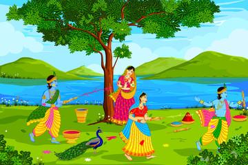 Radha Krishna playing Holi