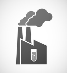 Industrial factory icon with a chemical test tube