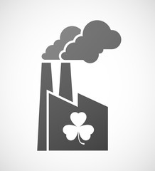 Industrial factory icon with a clover