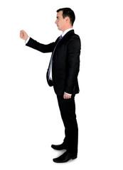 Business man holding something