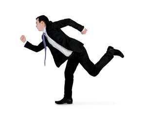 Business man running side
