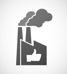 Industrial factory icon with a thumb up hand