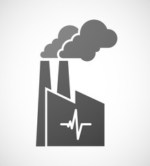 Industrial factory icon with a heart beat sign