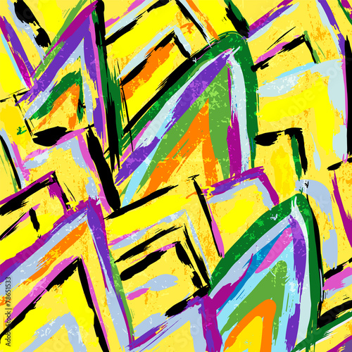 Papiers peints Forme abstract background composition, with strokes and splashes, zigz