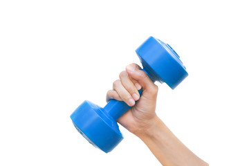 Female hand holding blue plastic coated dumbbell isolated on whi