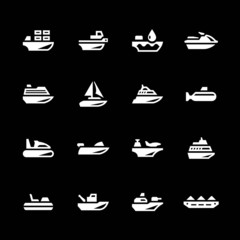 Set icons of water transport