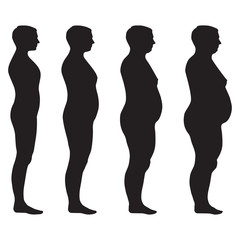 vector fat body, weight loss, overweight silhouette
