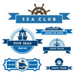Set of vintage nautical labels and icons