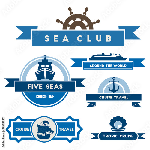 Set of vintage nautical labels and icons - 78653387