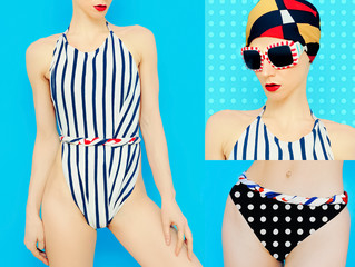 Summer Set. Marine style swimsuit. Summer fashion accessories. S