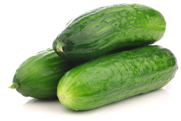 fresh turkish cucumbers on a white background