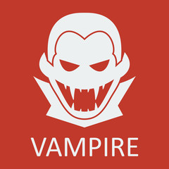 Vector vampire. Red background. Format eps 10