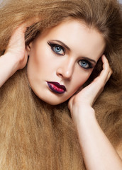 Redhead woman with long hair