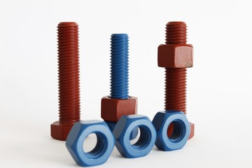 Mix bolt and nut in blue coated and red coated