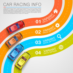 Car racing info art cover